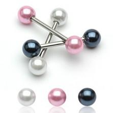 Piercing do jazyka s perleťovou kuličkou
