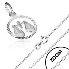 """Náhrdelník ze stříbra 925, řetízek a znamení """"Váhy"""" AA33.07"""
