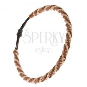 Pletený náramek - béžovo-zlatohnědá nylonová spirála, černá šňůrka