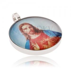 Okrouhlý ocelový medailon, Ježíš v červeno-modrém rouchu