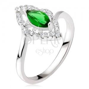 Stříbrný prsten 925 - elipsovitý kamínek zelené barvy, zirkonová kontura
