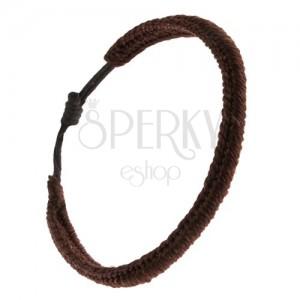 Čokoládově hnědý pletený náramek z nylonových šňůrek, housenka