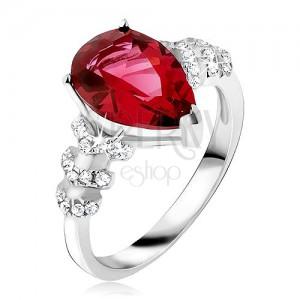 Prsten ze stříbra 925 - červený slzičkovitý kámen, čiré zirkonové šipky