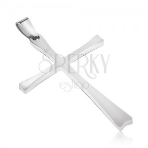 Ocelový přívěsek stříbrné barvy, kříž s tenkými rameny