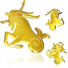 Zlatý set z oceli, přívěsek a náušnice, znamení Kozoroh
