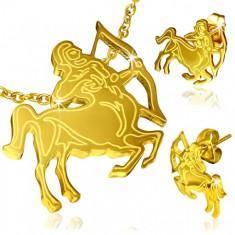 Ocelová sada zlaté barvy, náušnice a přívěsek, znamení Střelec