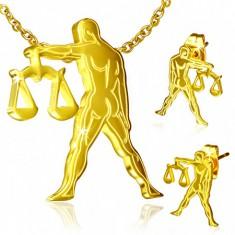 Zlatý set z oceli - náušnice a přívěsek, znamení Váhy