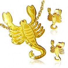 Set z oceli zlaté barvy, puzetové náušnice a přívěsek, Štír
