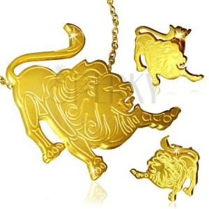 Zlatá sada z chirurgické oceli - přívěsek a náušnice, Lev