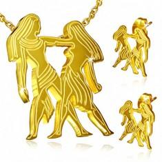 Ocelový set zlaté barvy, náušnice a přívěsek, znamení Blíženci