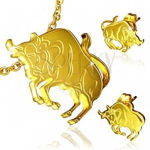 Zlatá ocelová sada - puzetové náušnice a přívěsek, Býk