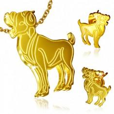 Zlatý set z oceli, puzetové náušnice a přívěsek, Beran