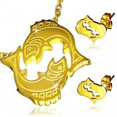Ocelová sada zlaté barvy - přívěsek a náušnice, znamení Ryby