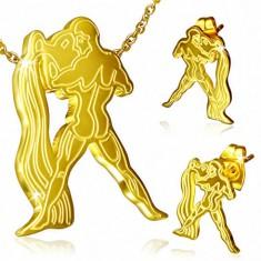 Zlatý ocelový set, puzetové náušnice a přívěsek, Vodnář