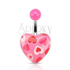 Ocelový piercing do pupku, růžové srdce se srdíčky a hvězdami