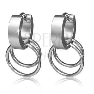 Kruhové náušnice z chirurgické oceli se dvěma obroučkami