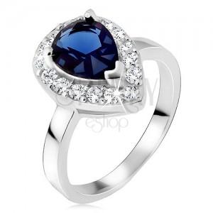 Stříbrný prsten 925, modrý slzičkovitý kámen se zirkonovým lemem