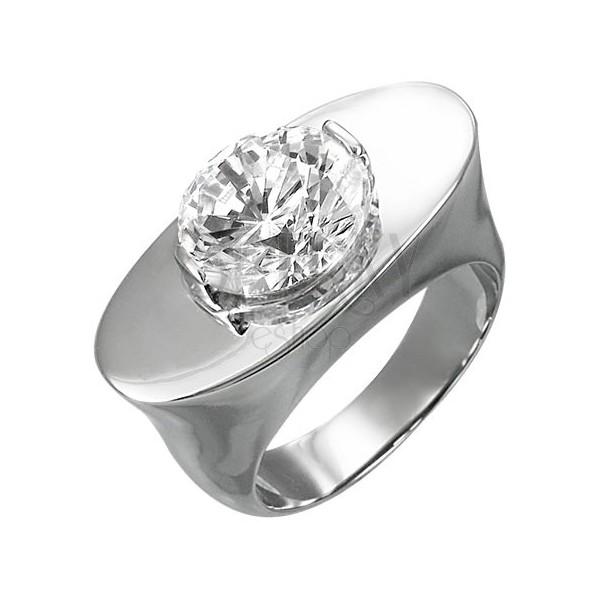 Mohutný ocelový prsten - ovál se zirkonem