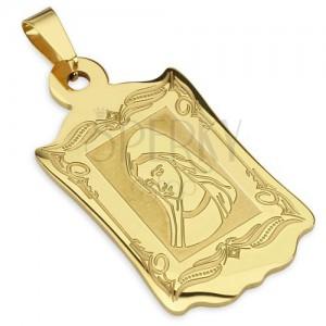 Zlatý medailon z oceli, ozdobně gravírovaný, s portrétem madony