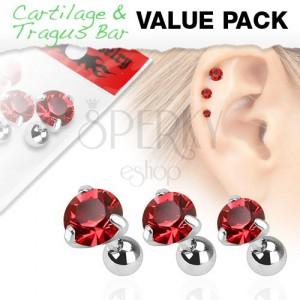 Set z chirurgické oceli - tři piercingy do ucha, červený zirkon