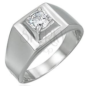 Prsten z oceli - vystupující hranatý zirkon