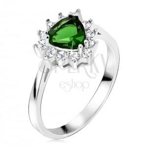 Prsten ze stříbra 925, trojúhelníkový zelený kamínek, čiré zirkony