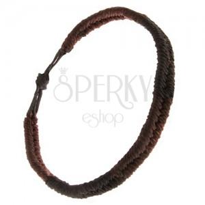 Náramek ze šňůrek, pásy černé a čokoládové barvy, vzor rybí ocas