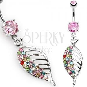 Piercing do břicha z oceli, růžový kamínek, barevný zirkonový list