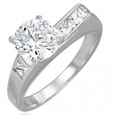 Dámský prsten se zirkony - asymetrický D15.15