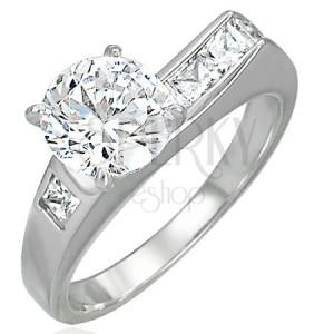 Dámský prsten se zirkony - asymetrický