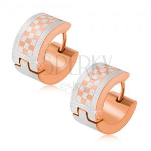 Zlato-stříbrné kruhové náušnice z oceli, šachovnice