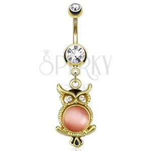 Zlatý ocelový piercing do pupku, sova s růžovým kamínkem