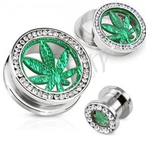 Ocelový tunel plug do ucha, čirý zirkonový kruh, list marihuany