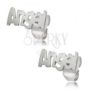 Ocelové puzetové náušnice stříbrné barvy, Angel