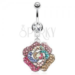 Piercing do pupku z oceli, čirý kamínek, barevný zirkonový květ