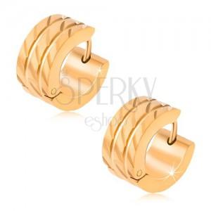 Zlaté kruhové náušnice z oceli, dvě rovné rýhy, diagonální zářezy