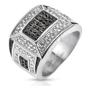Masivní ocelový prsten, černo-bílá zirkonová mozaika