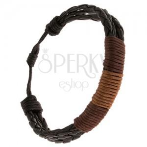 Náramek - tři černé pletence ovinuté oříškovou a kávovou šňůrkou
