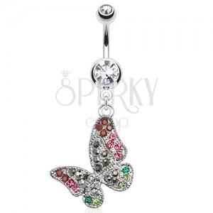 Ocelový piercing do pupku, čirý kamínek, barevný zirkonový motýl