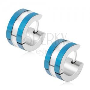 Náušnice z chirurgické oceli, modré a stříbrný pás