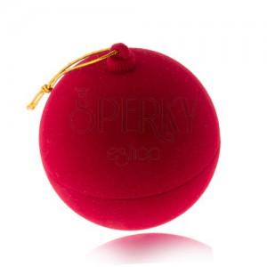 Sametová krabička na prsten, červená vánoční koule