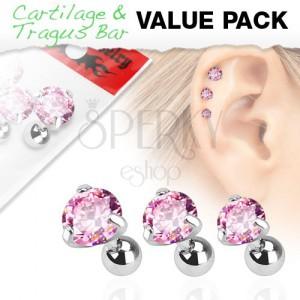 Sada z chirurgické oceli, tři piercingy s růžovým zirkonem