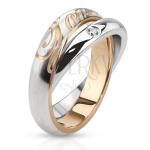 Dvojitý ocelový prsten - stříbrné obroučky, zirkon, nápis Love