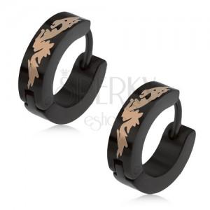 Kruhové ocelové náušnice černé barvy, čínský drak