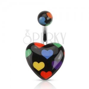 Ocelový piercing do bříška, černé srdce s barevnými srdíčky
