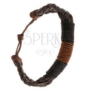 Náramek - tři čokoládové pletence ovinuté hnědou a černými šňůrkami