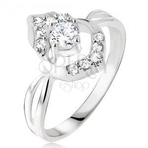 Prsten ze stříbra 925, okrouhlý čirý zirkon v poupěti