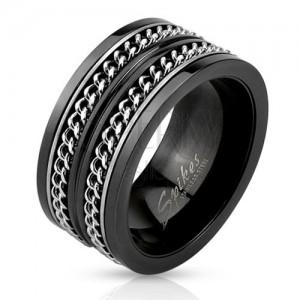 Černá ocelová obroučka, dva stříbrné řetízky