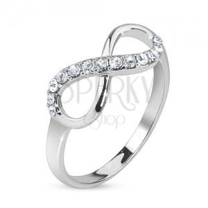 Stříbrný prsten, znak nekonečna zdobený čirými kamínky