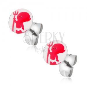 Puzetové náušnice z oceli, červený ďáblík s vidlemi